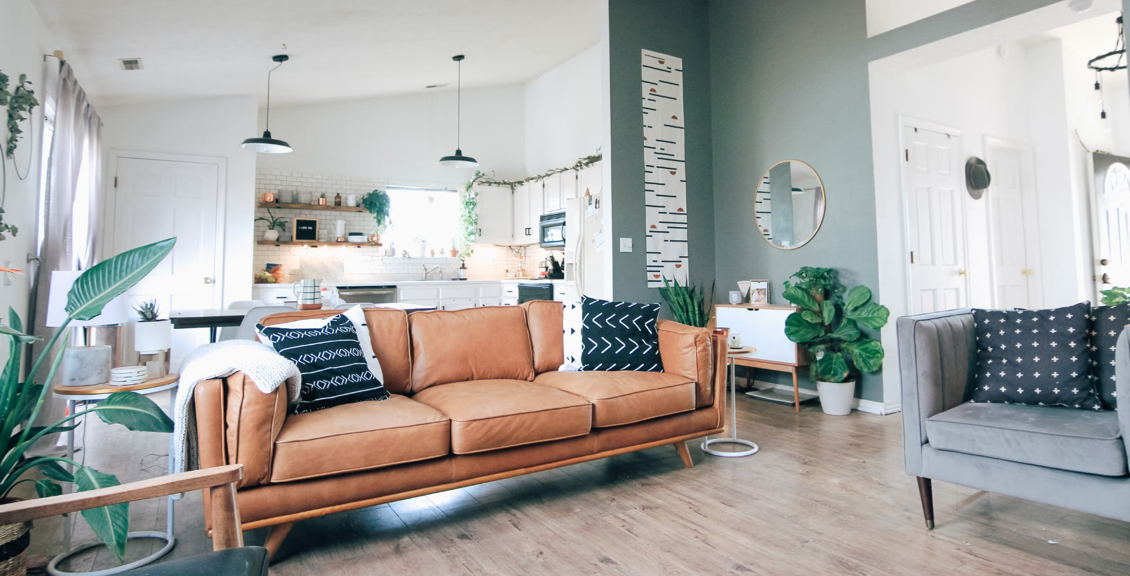 A modern, mid-century inspired, living room