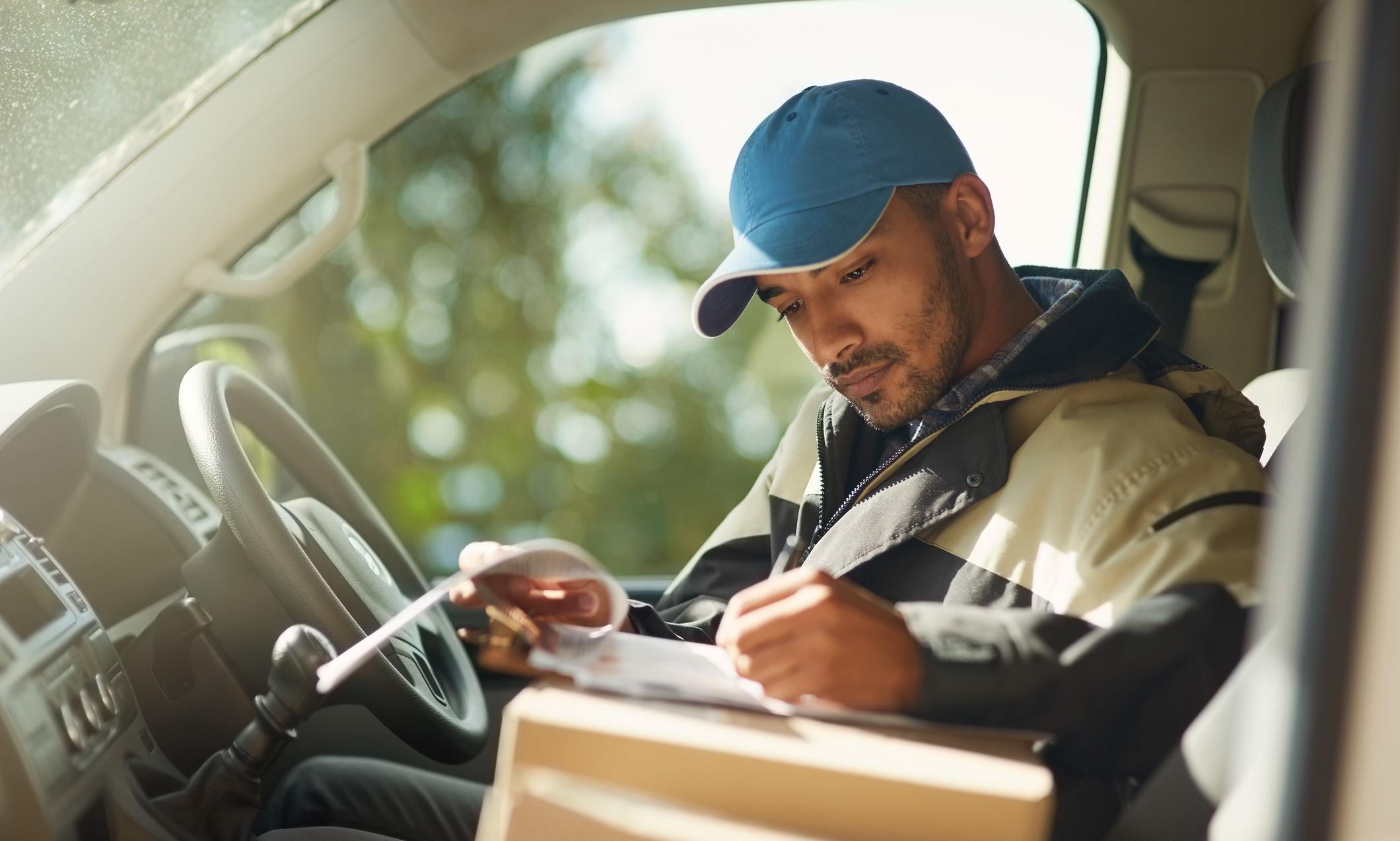 employee in car